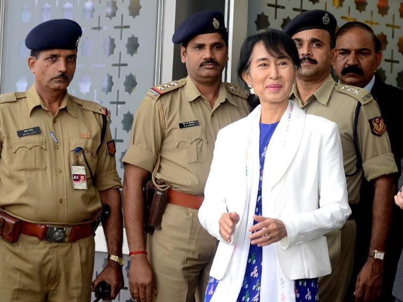 Myanmar Opposition leader Aung San Suu Kyi arrives at Indira Gandhi International Airport in New Delhi on. Suu Kyi is in India for a seven-day visit. AFP/Raveendran