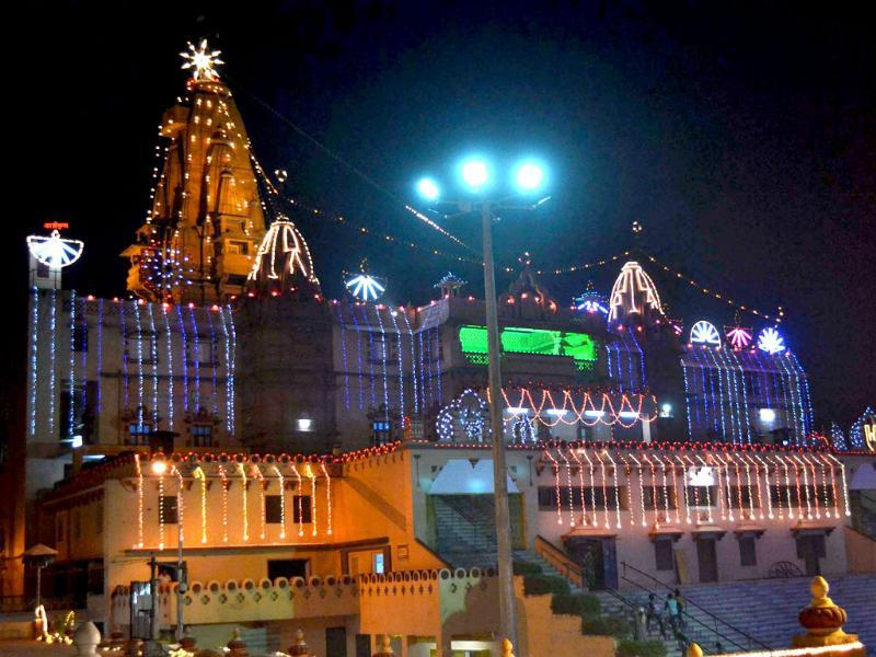 The view of lighting at Sri Krishna Janamsthan temple (Birth place of Lord Krishna) on the occasion of Diwali in Mathura. Agencies