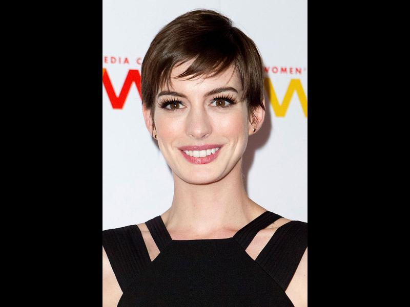 Anne Hathaway attends the 2012 Women's Media Awards at Guastavino's New York. (AP Photo)