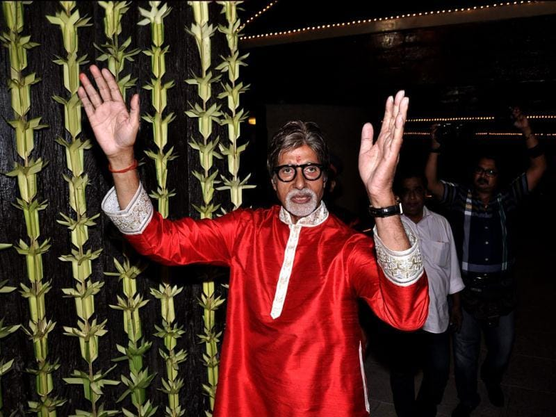 Amitabh Bachchan seems too happy during the celebrations. (Photo/Viral Bhayani)