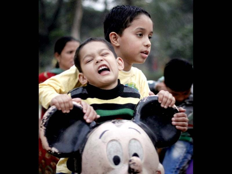 Children playing and enjoying on childrens day at Children park in New Delhi, India. (Hindustan Times/ Nadeem Hassan)