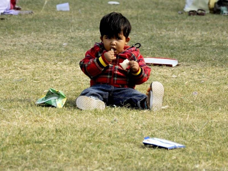 A child seen at Bal Bhawan in New Delhi, on the occasion of childrens day. Hindustan Times