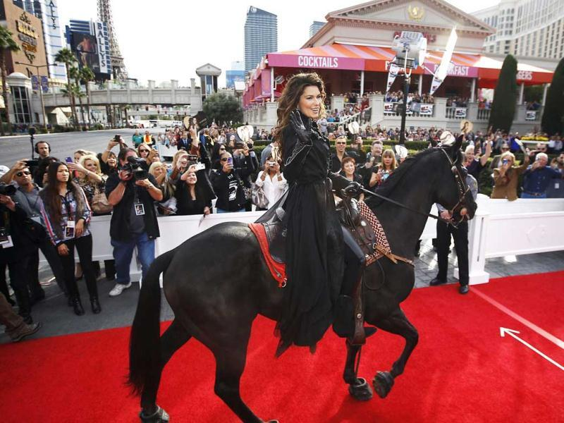Shania Twain makes her official arrival on horseback at Caesars Palace in Las Vegas. AP photo