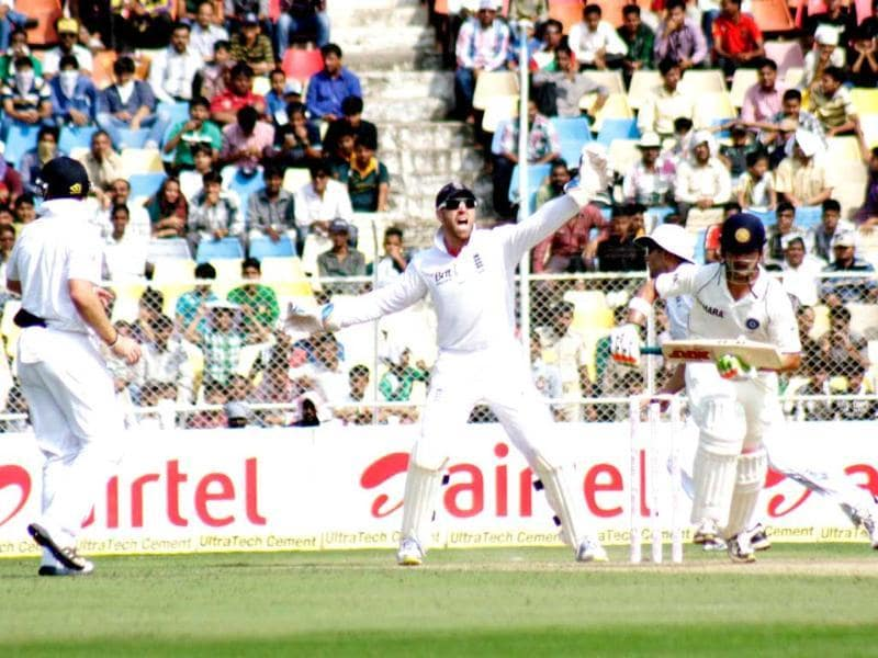 England player appeals unsuccesfully against Gambhir on the first day of first test match against India at Sardar Patel Motera stadium in Ahmedabad. UNI