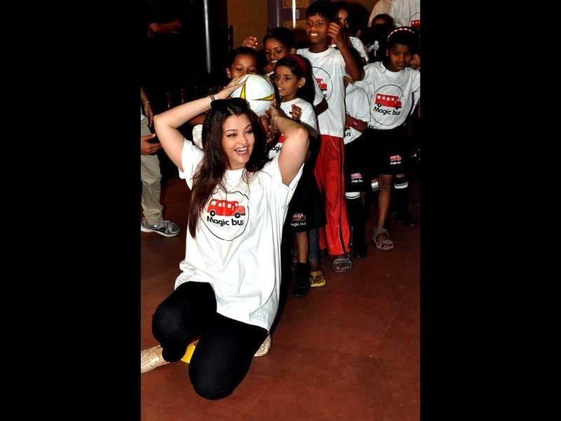 Let The Game Begin! Aishwarya Rai Bachchan plays with the young NGO girls.