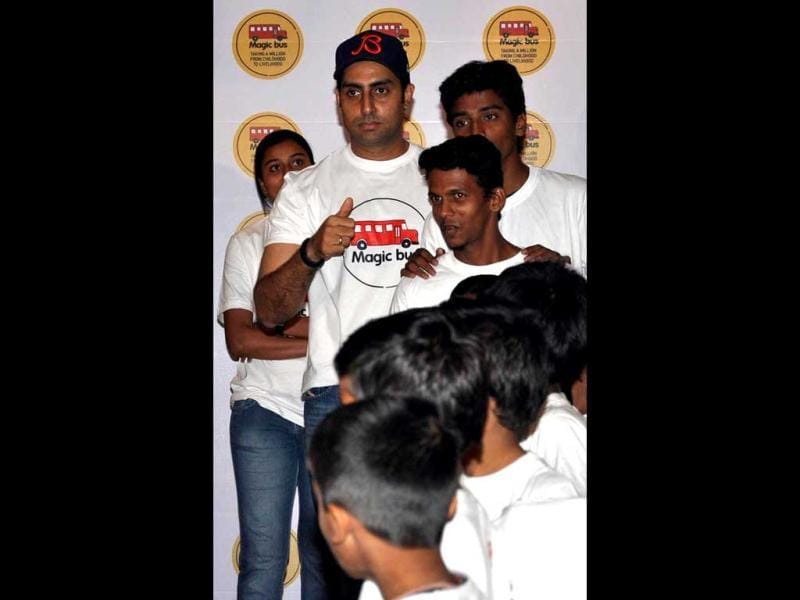All Cool Boys, Come On 'N' Make Some Noise! Abhishek Bachchan with the NGO kids.