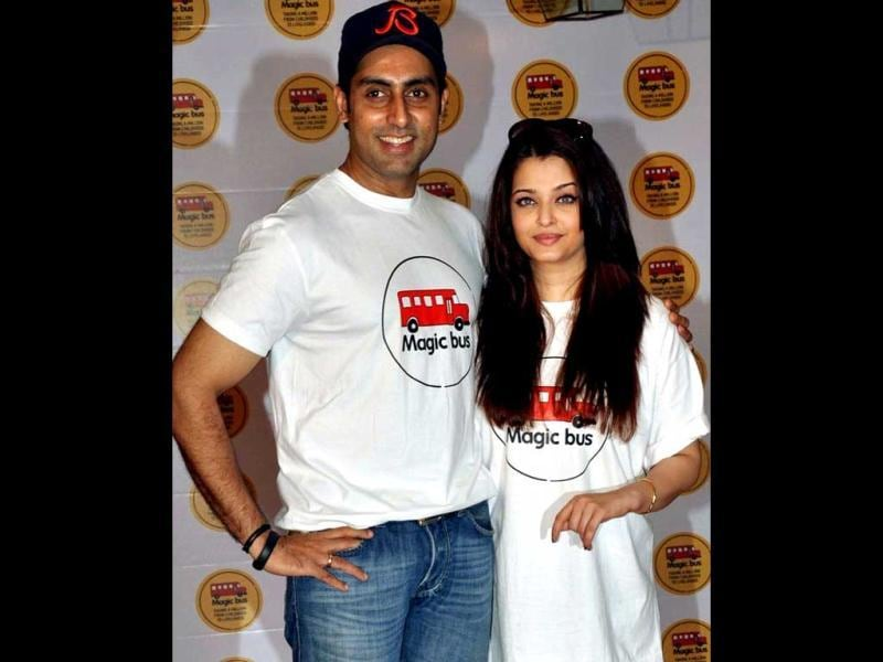 Abhishek and Aishwarya Rai Bachchan were seen celebrating Children's Day with kids of NGO Magic Bus. The stars, who got into the spirit of the day, certainly made it special for the young ones.