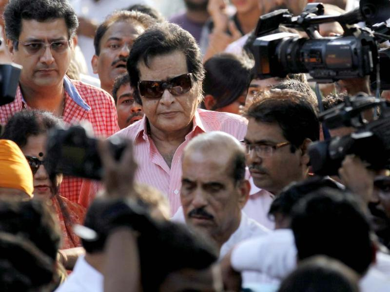 Actor Manoj Kumar after visiting Matoshree residence of Shiv Sena chief Bal Thackeray. Thackeray's health had worsened on Wednesday, leading to a surge of supporters gathered outside his residence in Mumbai. (Photo by Vijayanand Gupta / Hindustan Times)