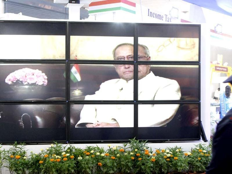 A video clipping of the President Pranab Mukherjee as seen at the Taxpayers' lounge at India International Trade Fair at Pragati Maidan in New Delhi. Hidustan Times