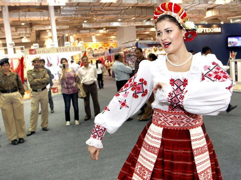 Belarusian artists performing at India International Trade Fair at Pragati Maidan in New Delhi . Hindustan Times
