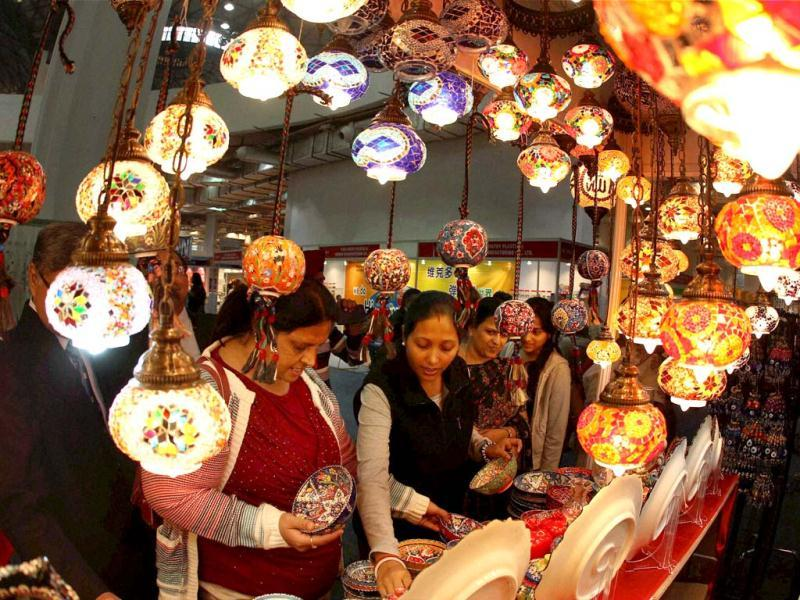 Visitors at Turkey Pavilion at the India International Trade Fair in New Delhi. PTI Photo