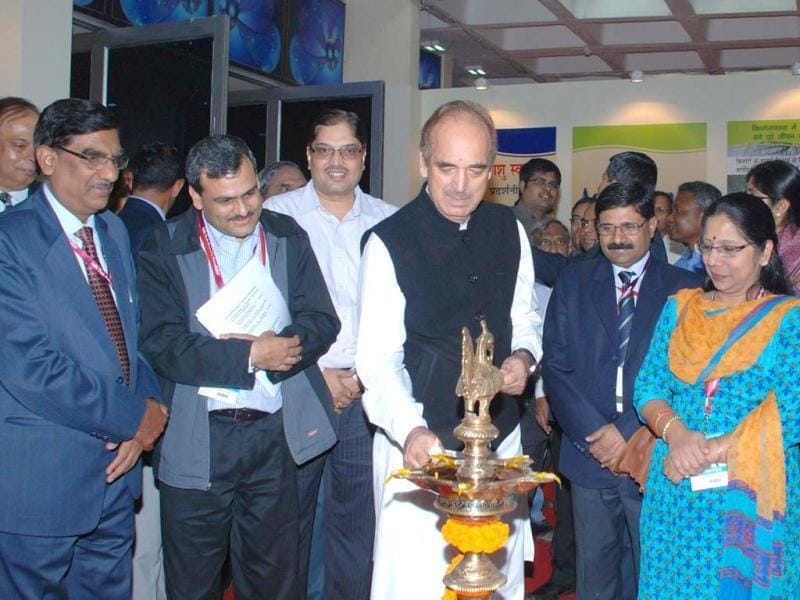 Union minister for health and family welfare Ghulam Nabi Azad lighting the lamp to inaugurate the 'Health Pavilion', at the India International Trade Fair at Pragati Maidan, in New Delhi. UNI
