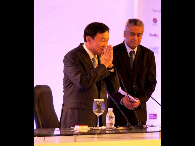 Former Thailand PM Thaksin Shinawatra along with editor-in-chief Network 18 Rajdeep Sardesai at the Hindusan Times Leadership Summit 2012 in New Delhi.
