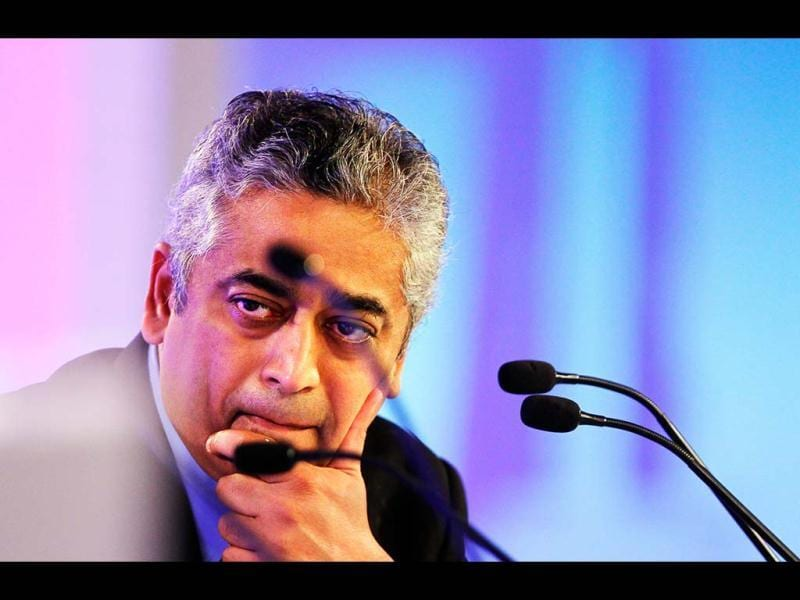 Moderator and Editor-in-Chief IBN Network 18 Rajdeep Sardesai looks on during the first day of the Hindustan Times Leadership Summit in New Delhi. HT Photo/Gurinder Osan