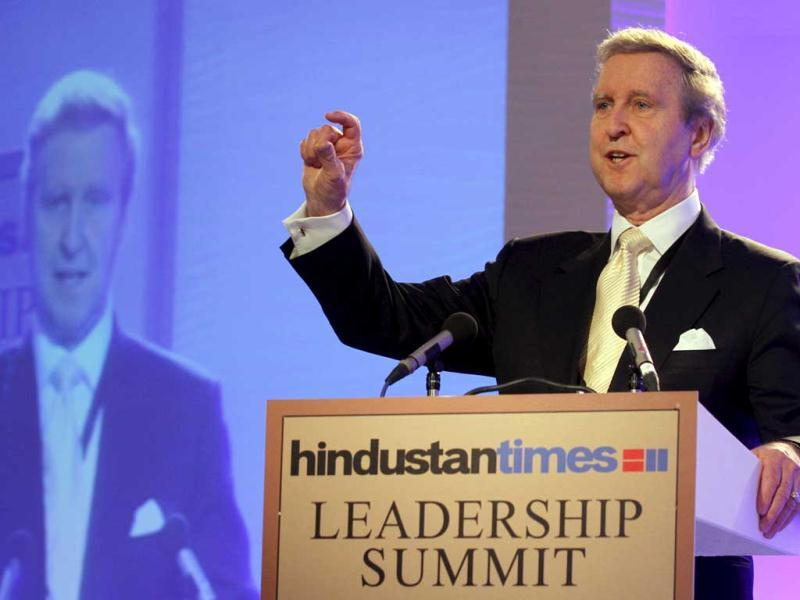 Willam S Cohen, President and CEO, The Cohen Group and former US secretary of defense, speaks at Hindustan Times Leadership Summit in New Delhi. HT/Virendra Singh Gosain