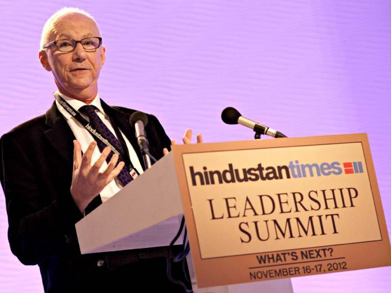 In conversation with Anatole Kaletsky, journalist and economist, during the first day of the Hindustan Times Leadership Summit in New Delhi. HT/Jasjeet Plaha