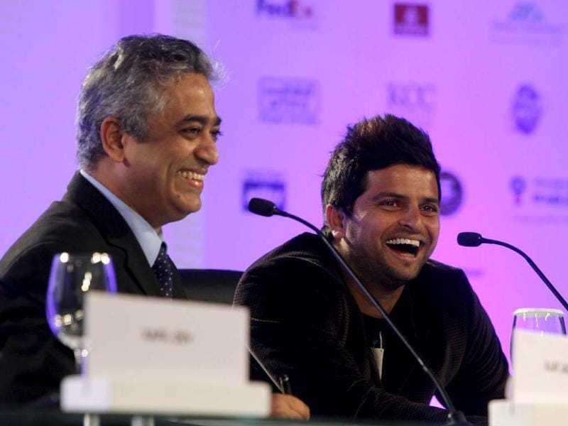 The moderator Rajdeep Sardesai and cricketer Suresh Raina during the sixth session of Hindustan Times Leadership Summit at Taj Palace in New Delhi. (Photo by ARIJIT SEN / Hindustan Times)