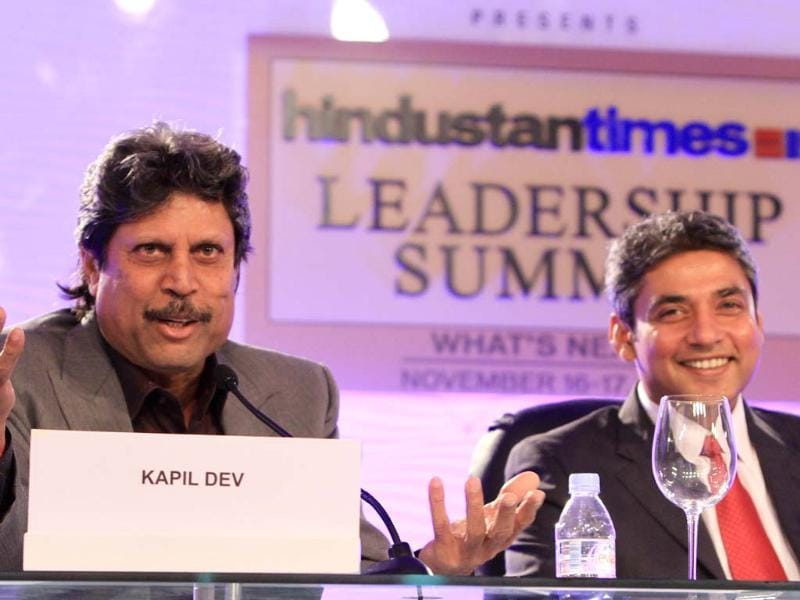Former India cricket captain Kapil Dev and former international cricketer Ajay Jedaja during the first day of the Hindustan Times Leadership Summit in New Delhi. (photo by Sanjeev Sharma)