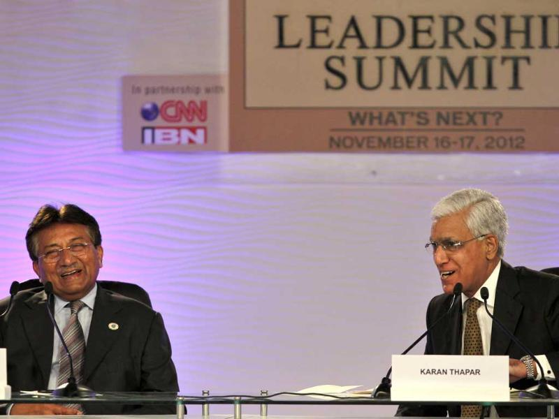 Former Pakistan president Pervez Musharraf with senior journalist Karan Thapar at the Hindustan Times Leadership Summit at Taj Palace in New Delhi. (HT Photo/Gurinder Osan)