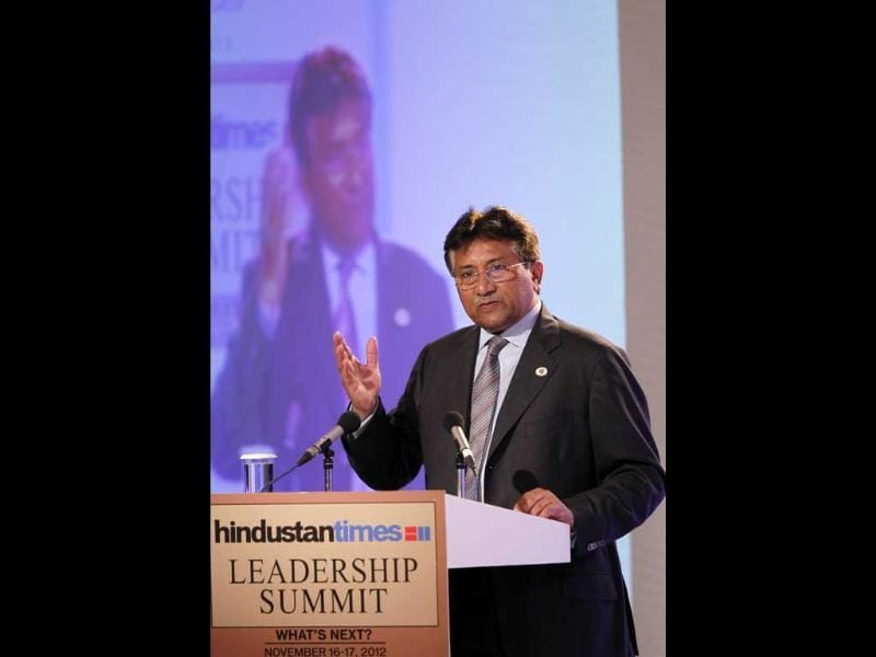 Former Pakistan president Pervez Musharraf speaks at the Hindustan Times Leadership Summit at Taj Palace in New Delhi. (HT Photo/Gurinder Osan)