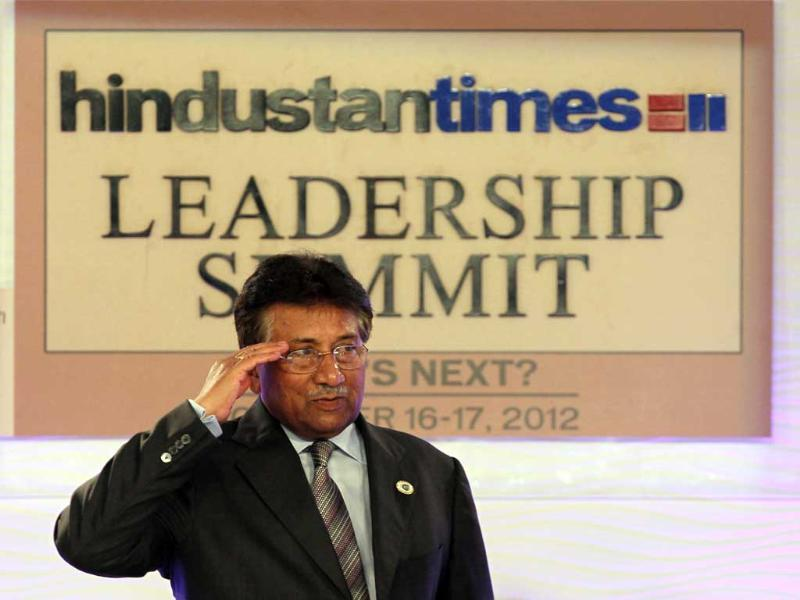 Former Pakistan president Pervez Musharraf at the Hindustan Times Leadership Summit at Taj Palace in New Delhi. (HT Photo/Gurinder Osan)