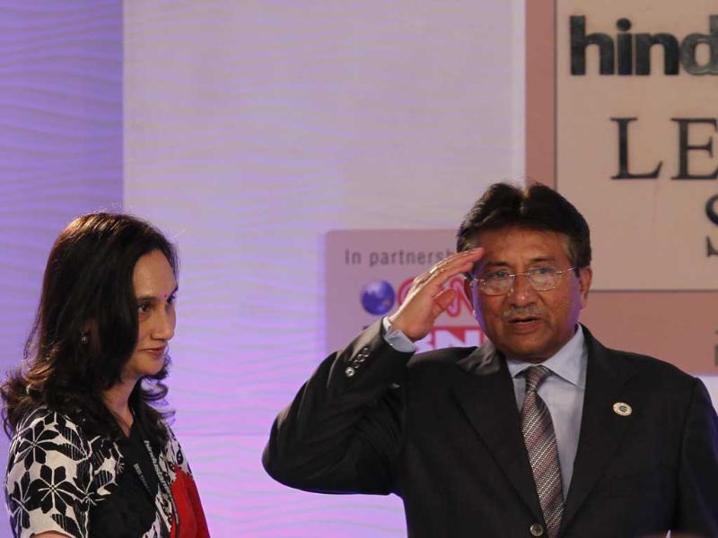 Former Pakistan president Pervez Musharraf along with chairperson and editorial director of Hindustan Times Media Group Shobhana Bhartia at the Hindustan Times Leadership Summit, Taj Palace, New Delhi. (HT Photo/Gurinder Osan)