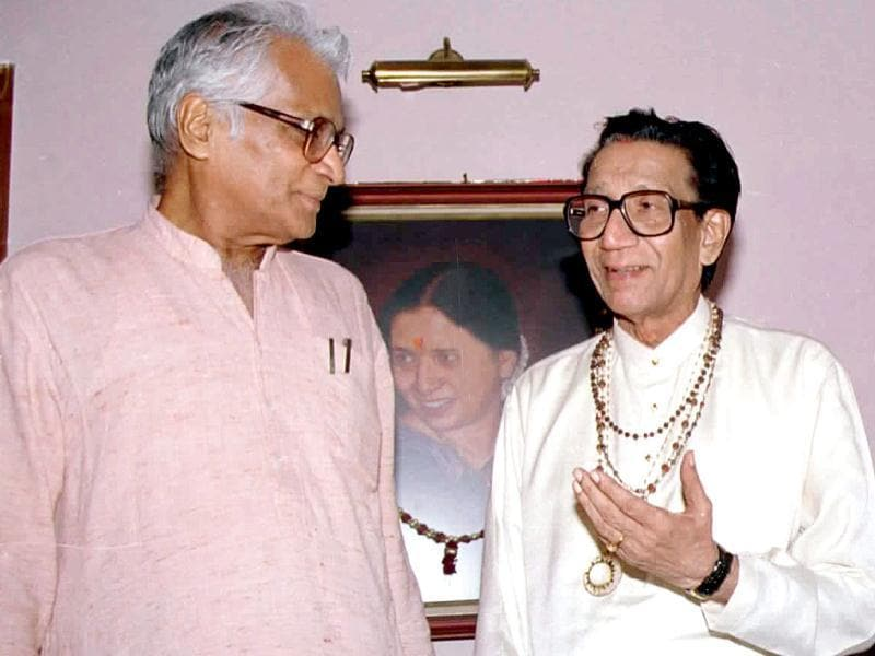 Shiv Sena chief Bal Thackeray with NDA convenor George Fernandes at his residence in Mumbai. HT