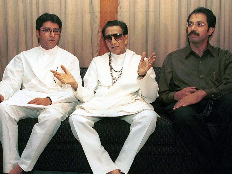 File photo: Shiv Sena supremo Bal Thackeray is flanked by son Uddhav Thakeray and nephew and MNS chief Raj Thackeray at a press conference in Mumbai. PTI