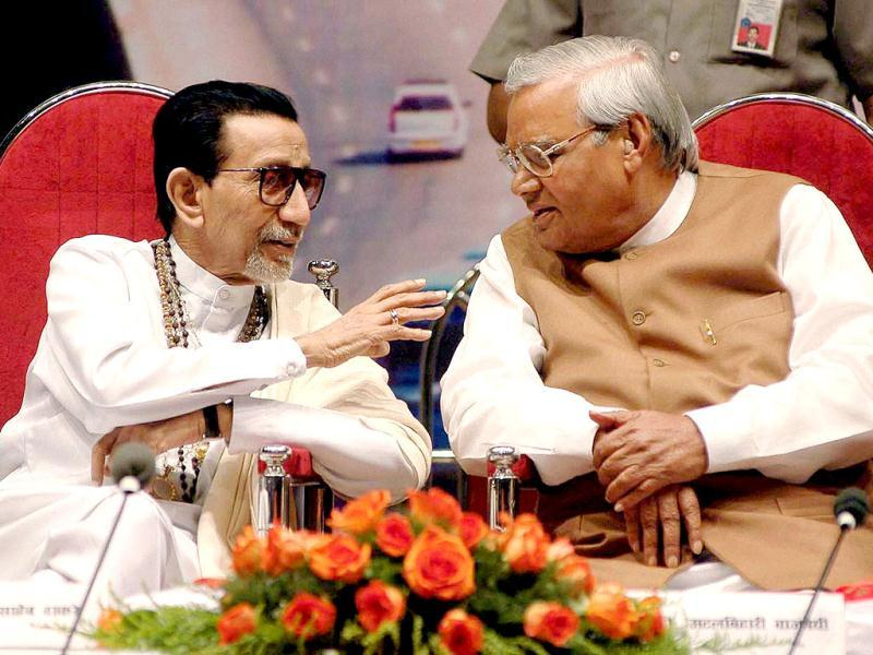 File photo: Shiv Sena supremo Bal Thackeray is seen with former Prime Minister Atal Bihari Vajpayee at a book release function in Mumbai. PTI
