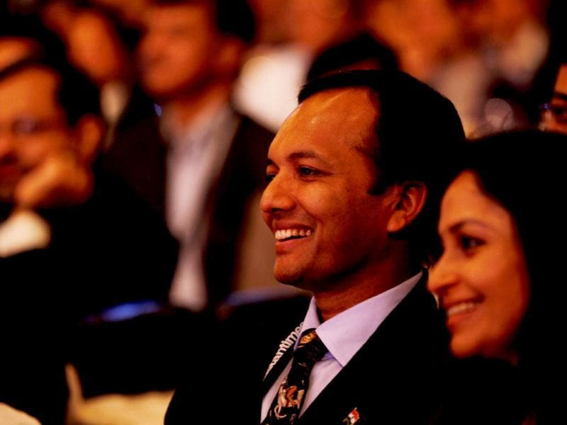 Naveen Jindal attending the session of Omar Abdullah, Akhilesh Yadav, moderator Sagarika Ghose and Sukhbir Singh Badal during the second day of the Hindustan Times Leadership Summit in New Delhi. HT/Ajay Aggarwal