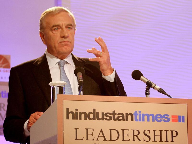 Sir Peter Lampl, chairman of The Sutton Trust, during the second day of the Hindustan Times Leadership Summit in New Delhi. HT/Sanjeev Sharma