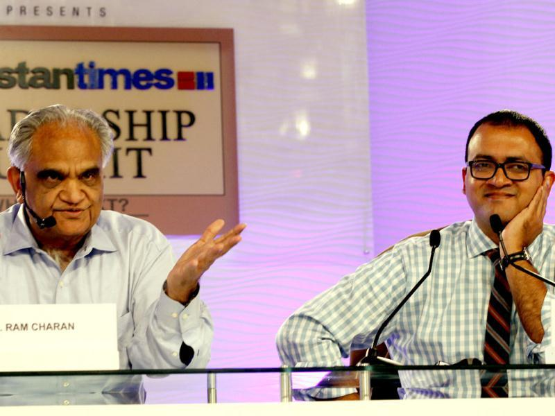Dr Ram Charan, business advisor and R Sukumar, editor, Mint, during the second day of the Hindustan Times Leadership Summit in New Delhi. HT/Raj K Raj