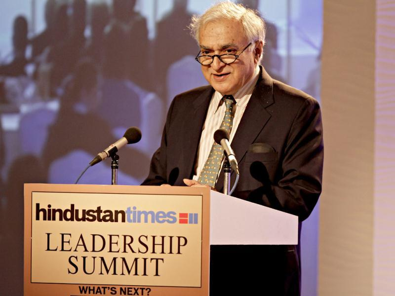Professor Deepak Lal, professor, University of California, Los Angeles during the second day of the Hindustan Times Leadership Summit in New Delhi. HT/Jasjeet Plaha