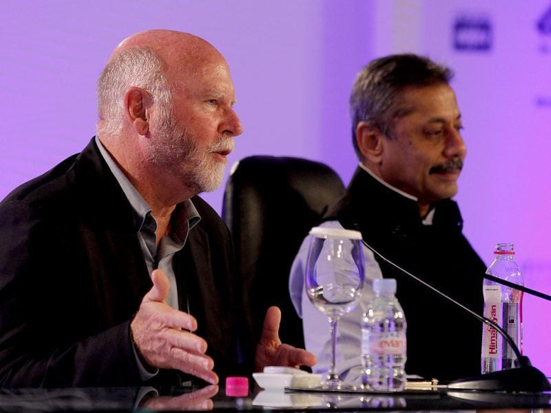 Dr J Craig Venter, chairman of Venter Institute, during the second day of Hindustan Times Leadership Summit in New Delhi. HT/Virendra Singh Gosain
