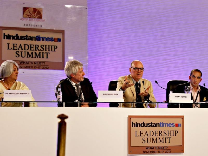 (L-R) Isher Judge Ahluwalia, economist, Christopher Choa, principal with AECOM Design and Planning and Geremy O'Grady and Dr Justin Bishop, during the second day of the Hindustan Times Leadership Summit in New Delhi. HT/Jasjeet Plaha