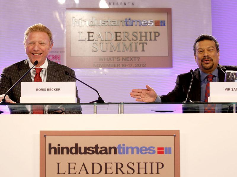 Boris Becker, former tennis player champion, in conversation with Vir Sanghvi during the second day of the Hindustan Times Leadership Summit in New Delhi. HT/Raj K Raj