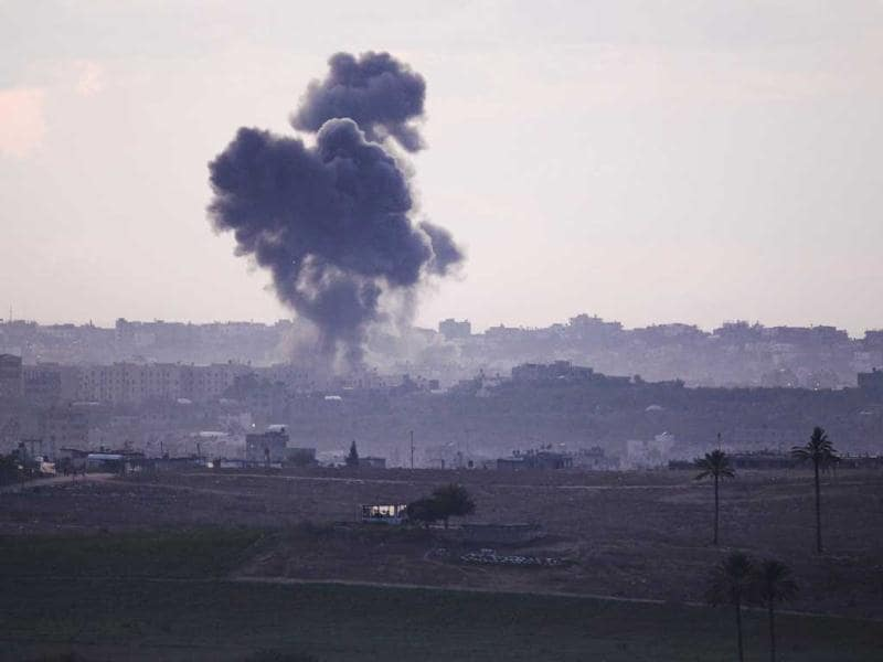 Smoke rises after an Israeli air strike in the northern Gaza Strip. (Reuters)