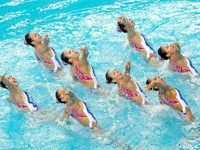 The Chinese team performs in the Teams Free Routine Syncronised swimming final during the 9th Asian Swimming Championships in Dubai. AFP Photo
