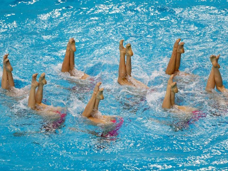 The Democartic People's Republic of Korea team performs in the Teams Free Routine Syncronised swimming final during the 9th Asian Swimming Championships in Dubai. AFP Photo