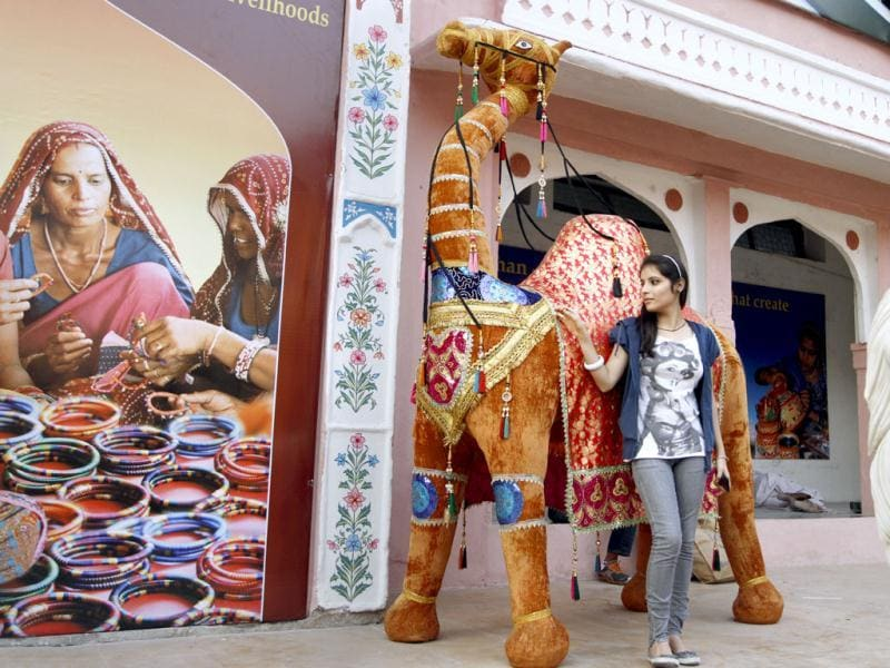 Visitor during the India International Trade Fair (IITF) at Pragati Maidan in New Delhi. HT/Sanjeev Verma