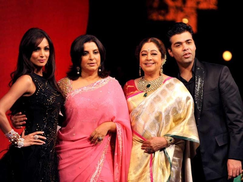Judges of India's Got Talent- Malaika Arora Khan, Farah Khan, Kirron Kher and Karan Johar pose together.