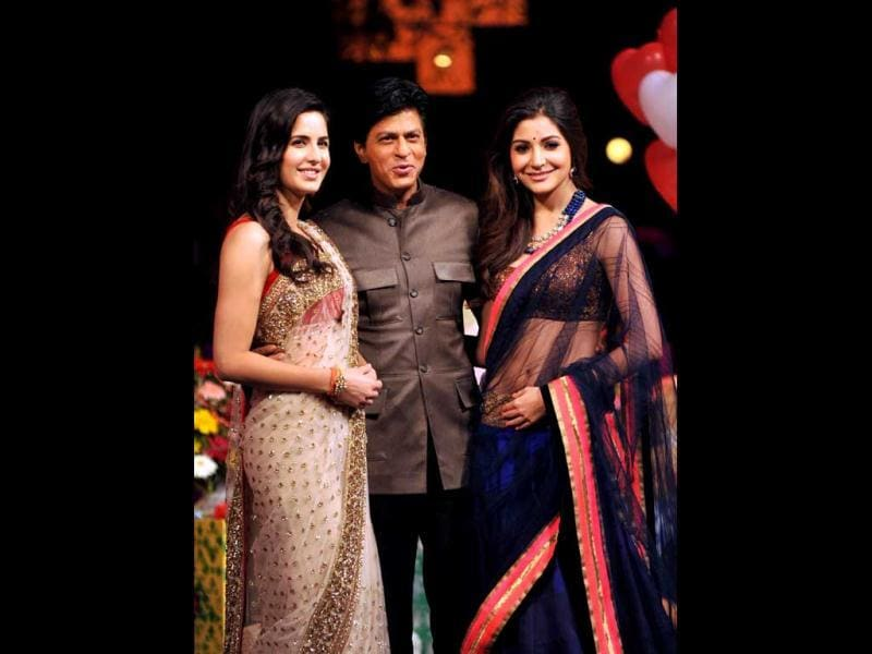 Shah Rukh Khan, Katrina Kaif and Anushka Sharma pose together at reality TV show India's Got Talent sets.