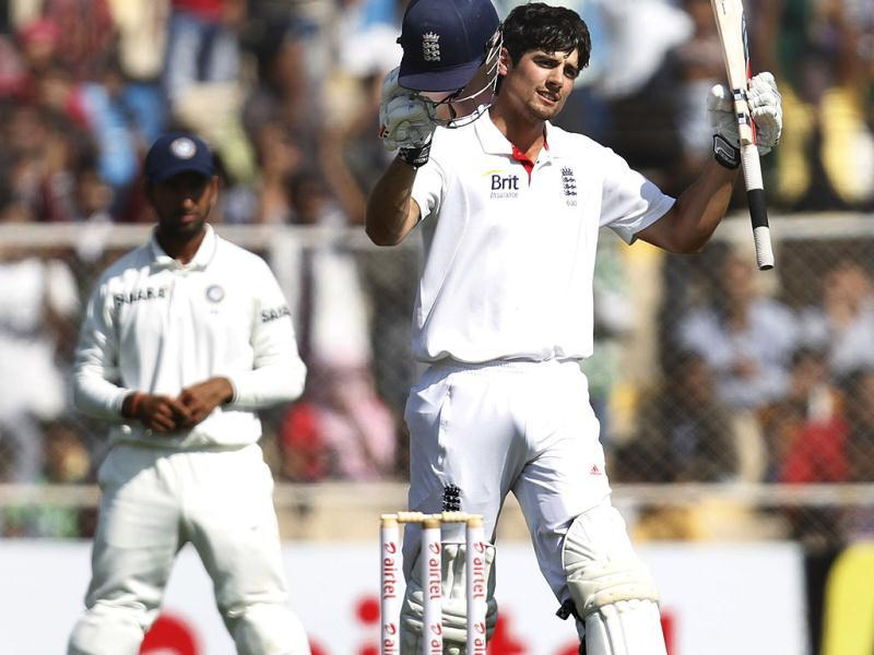 England batsman Alastair Cook reacts after score sanctuary against India during the fourth day of first Test match at Sardar Patel Stadium in Motera, Ahmadabad. HT/Mohd Zakir
