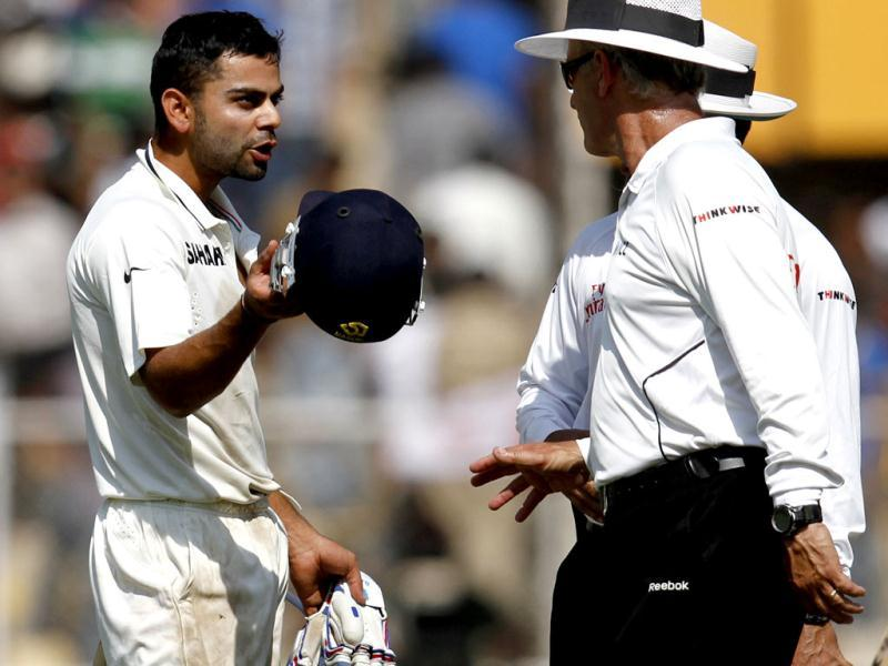Virat Kohli talks to umpires after England players argue with him during the final day of first Test match at Sardar Patel Stadium in Motera, Ahmadabad. HT/Mohd Zakir