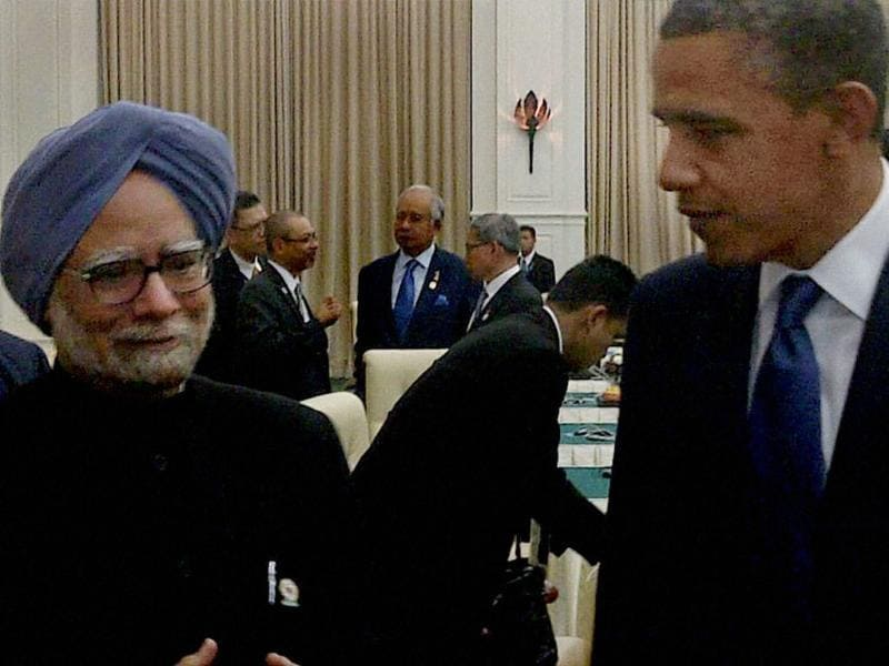 Prime Minister Manmohan Singh and US President Barack Obama at the East Asia Summit in Phnom Penh, Cambodia. PTI