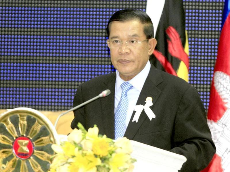 Cambodian Prime Minister Hun Sen delivers a speech during the closing ceremony of the Association of Southeast Asian Nations (ASEAN) Summit and related meetings in Phnom Penh, Cambodia. AP