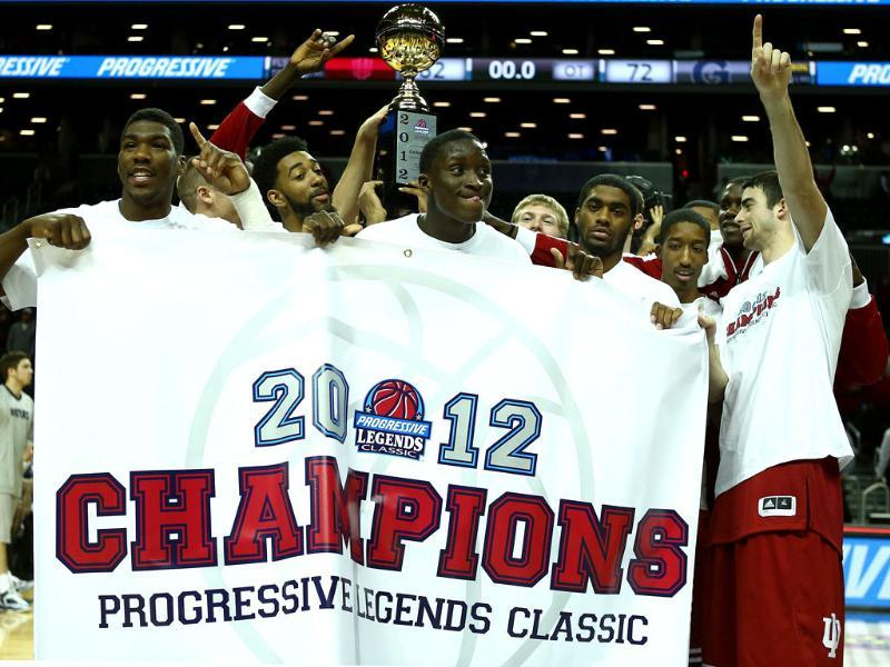 The Indiana Hoosiers celebrate with the trophy after they won the Championship Game of the Legends Classic at the Barclays Center in the Brooklyn borough of New York City. AFP/Elsa/Getty Images