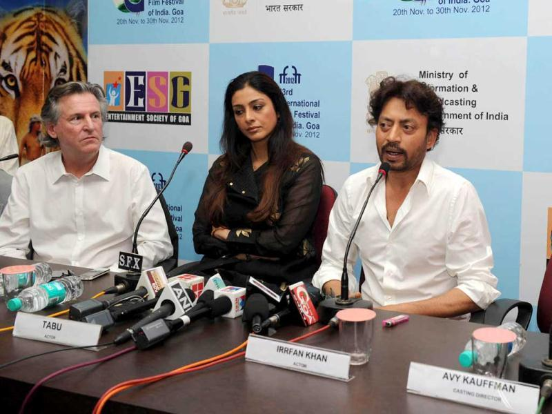 Life of Pi stars Irrfan Khan and Tabu addressing a press conference at the opening of the film at the 43rd International Film Festival of India (IFFI-2012) in Panaji. Film Producer David Womack and Casting Director Avy Kauffman (right) are also seen.