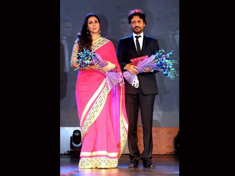 Indian Bollywood actors Tabu (L) and Irrfan Khan, cast in the film Life of Pi, are pictured onstage during the inauguration of the 43rd International Film Festival of India (IFFI) at Campal in Panaji on November 20, 2012.