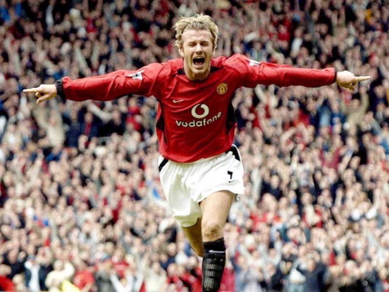 David Beckham celebrates after making it Manchester United 1-Charlton 0 during their Premiereship clash at Old Trafford, in Manchester, 03 May 2003. AFP Photo